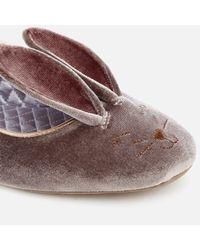 Ted Baker - Gray Women's Bellamo Velvet Bunny Slippers - Lyst