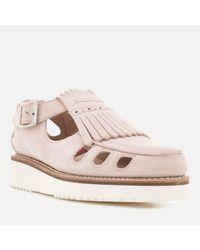 GRENSON Pink Ethel Suede Flats