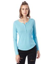 Alternative Apparel   Blue Rolled Sleeve Henley Shirt   Lyst