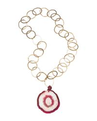 Amanda Wakeley | Metallic Malawi Red Agate Necklace | Lyst