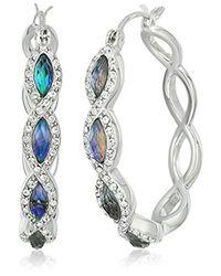 Judith Jack - Metallic Sterling Silver And Abalone Hoop Earrings - Lyst