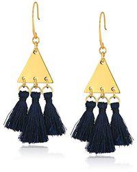Rebecca Minkoff - Blue Tri Tassel Chandeliers Drop Earrings - Lyst