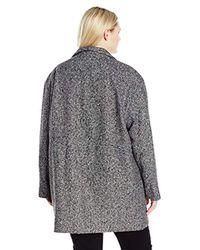 6547d8c45ce Lyst - Jones New York Plus Size Snap Front Wool Tweed Coat W ...