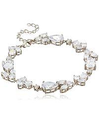 "Nina - Metallic Fancy Pear/round Cubic Zirconia Link Bracelet, 7.25"" - Lyst"