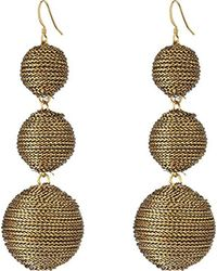 Kenneth Jay Lane - Metallic 3 Gold Thread Small To Large Wrapped Ball Post Fish Hook Ear Earrings - Lyst
