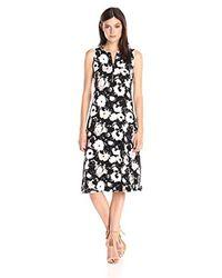 Kensie - Black Watercolor Blooms Dress - Lyst