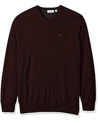 Calvin Klein - Brown Merino Sweater V Neck for Men - Lyst