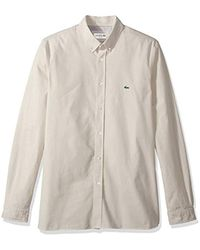 Lacoste Natural Long Sleeve Solid Oxford Stretch Button Down Collar, Ch4962 for men
