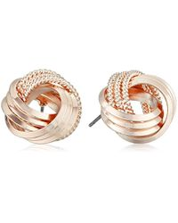 "T Tahari - Metallic ""essentials"" Love Knot Stud Earrings - Lyst"