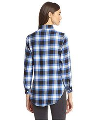 James & Erin - Blue Flannel Plaid High-low Shirt - Lyst