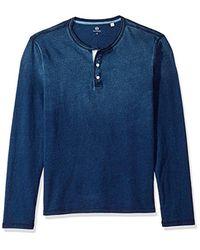 AG Jeans - Blue Clyde Long Sleeve Indigo Jersey Henley for Men - Lyst