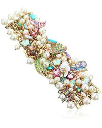 Betsey Johnson - Multicolor S Blooming Betsey Floral And Pearl Statement Bracelet, Multi, One Size - Lyst