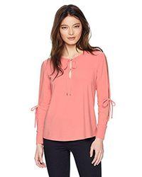 Ellen Tracy - Pink Petite Tie Neck Top With Slit Sleeves, - Lyst