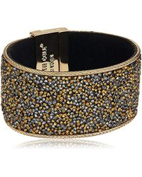 Kenneth Cole - Metallic Shiny Gold Items Gold Statement With Neutral Tonal Sprinkle Stone Bracelet - Lyst
