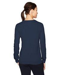 Lacoste - Blue Classic Cotton V Neck Sweater - Lyst