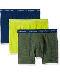 CALVIN KLEIN 205W39NYC - Yellow Cotton Stretch 3 Pack Boxer Briefs for Men - Lyst