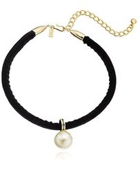 "Kenneth Jay Lane - S 12"" Black Velvet Choker With Pearl Drop Center And 4"" Extender Chain Necklace - Lyst"