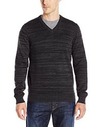 Perry Ellis - Black Solid Texture Stripe V-neck Sweater for Men - Lyst