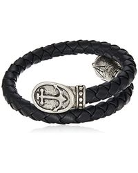 ALEX AND ANI - Metallic Braided Leather Wrap Bracelet, Anchor, Rafaelian Silver, Expandable for Men - Lyst