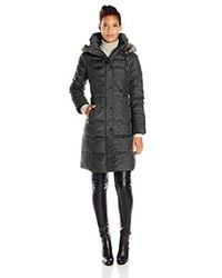 London Fog - Black Flynn Quilted Long Down Coat With Faux Fur Trimmed Detachable Hood - Lyst