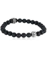 "King Baby Studio - Black 8mm Sterling Silver Feather Bead With Onyx Bracelet, 8.75"" for Men - Lyst"
