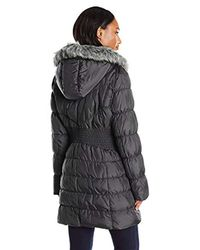 Via Spiga - Gray Diamond Quilted Down Coat With Faux Fur Collar - Lyst