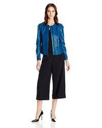 Anne Klein - Blue Zip-front Leather Jacket - Lyst