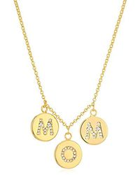 """Kate Spade - Metallic """"pave Mom Charm Necklace Mom Knows Best Pave Mom Charm Necklace Clear/gold Necklace - Lyst"""