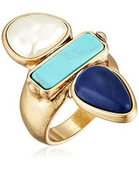 Lucky Brand - Metallic S Turquoise Pearl Ring, Gold, 7 - Lyst