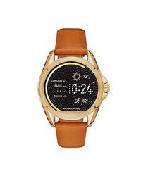 Michael Kors - Brown Access Bradshaw Saddle Leather Smartwatch Strap Mkt9004 - Lyst