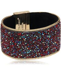 """Kenneth Cole - """"red Items Gold Statement With Red Sprinkle Stone Bracelet - Lyst"""