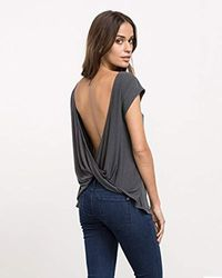 RVCA - Gray Junior's Label Cowl Back Tank - Lyst