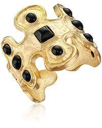 Kenneth Jay Lane - Gold-tone And Black Odd-shape Cuff Bracelet - Lyst