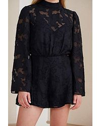 70068470441 Lyst - Finders Keepers Midnight Lace High Neck Long Sleeve Open Back ...
