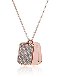 Michael Kors - Metallic S Perfect For Gifting - Pave-accented Dog Tag Pendant Necklace - Lyst
