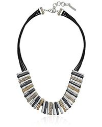 "Nine West - Multicolor Tri-tone And Crystal 16"" Frontal Necklace - Lyst"