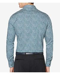 Perry Ellis - Blue Long Sleeve Abstract Floral Print Shirt for Men - Lyst