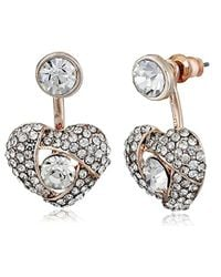 Betsey Johnson - Metallic Pave Heart Rose Gold Front And Back Earrings Ear Cuffs - Lyst
