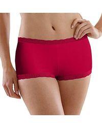 9dba844696dd Maidenform Microfiber Lace Boyshort Panty in Red - Lyst