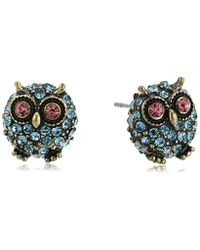 """Betsey Johnson - Blue """"betsey's Delicates"""" Pave Owl Stud Earrings - Lyst"""