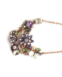 "Betsey Johnson - Purple ""spring Fling"" Mixed Faceted Beaded Flower And Bug Necklace, 16"" - Lyst"