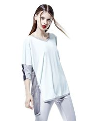 Blanc and Noir | Mesh Back Tee In White & Grey | Lyst