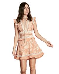 Lyst For Love Lemons Mia Paneled Mini Dress In Peach In Natural