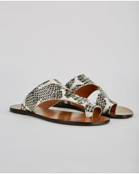 Atp Atelier - Brown Roma Toe Strap Printed Sandal - Lyst