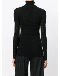 Anastasia Boutique | Black Sheer Ribbed Stretch Turtleneck | Lyst