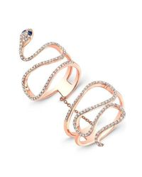 Anne Sisteron - Multicolor 14kt Rose Gold Diamond Blue Sapphire Snake Connector Ring - Lyst