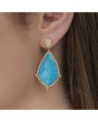 Anne Sisteron - Blue 14kt Yellow Gold Turquoise And White Topaz Diamond Leaf Earrings - Lyst