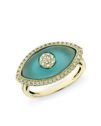 Anne Sisteron - Multicolor 14kt Yellow Gold Blue Topaz Diamond Evil Eye Ring - Lyst