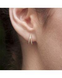 Anne Sisteron - Metallic 14kt Yellow Gold Diamond Wishbone Huggie Earrings - Lyst