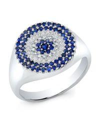 Anne Sisteron - Metallic 14kt White Gold Diamond And Sapphire Disc Ring - Lyst